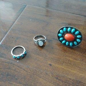 Bundle of dainty,stone rings